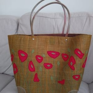 New/unused handmade floral tote with drawstring